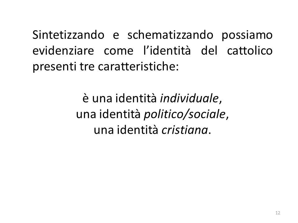 12 Sintetizzando e schematizzando possiamo evidenziare come lidentità del cattolico presenti tre caratteristiche: è una identità individuale, una identità politico/sociale, una identità cristiana.