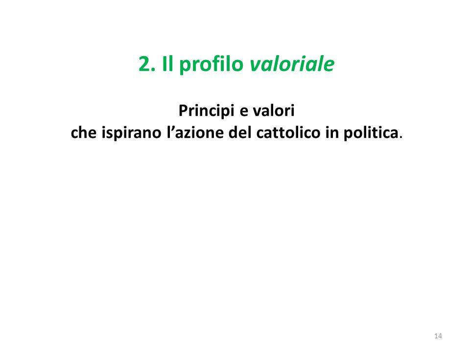 2. Il profilo valoriale Principi e valori che ispirano lazione del cattolico in politica. 14