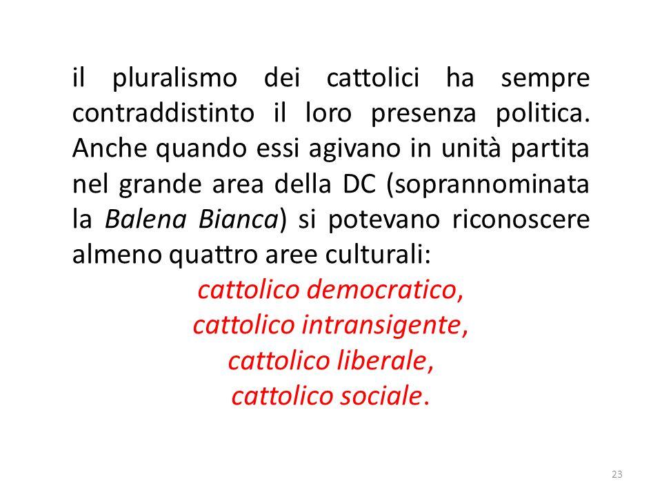 23 il pluralismo dei cattolici ha sempre contraddistinto il loro presenza politica.