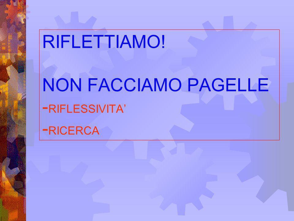 RIFLETTIAMO! NON FACCIAMO PAGELLE - RIFLESSIVITA - RICERCA
