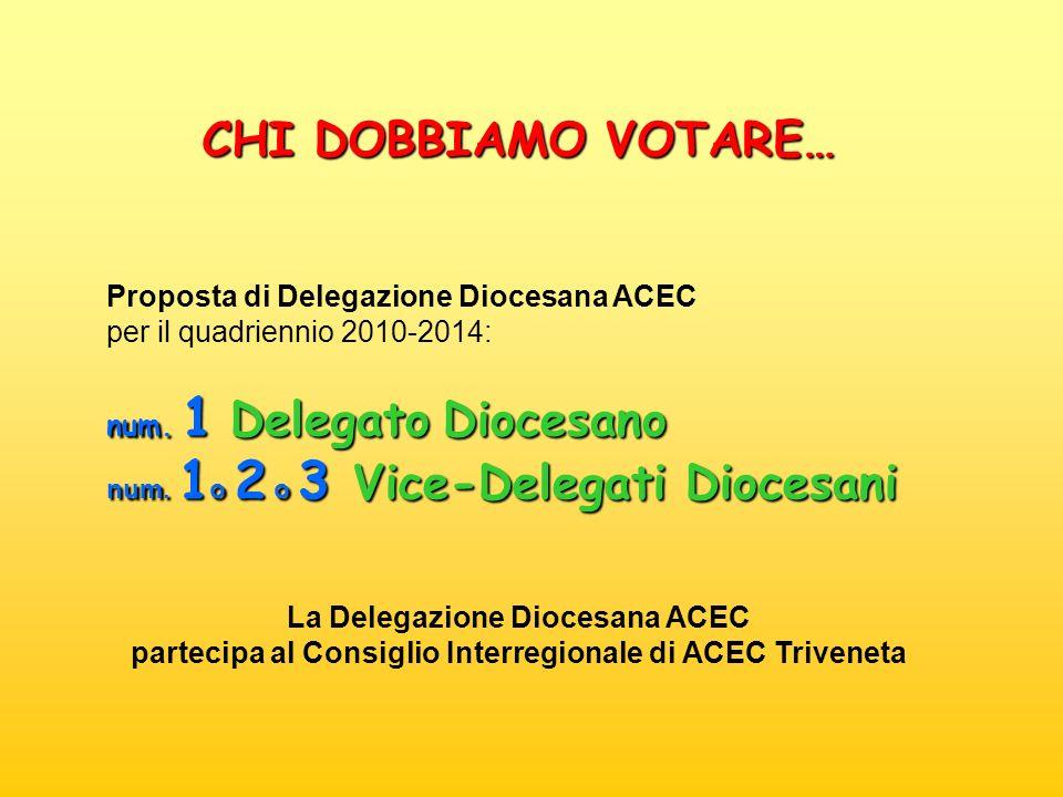Proposta di Delegazione Diocesana ACEC per il quadriennio 2010-2014: num. 1 Delegato Diocesano num. 1 o 2 o 3 Vice-Delegati Diocesani CHI DOBBIAMO VOT