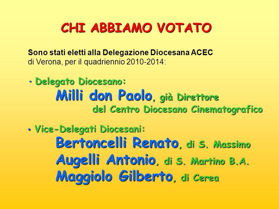 Sono stati eletti alla Delegazione Diocesana ACEC di Verona, per il quadriennio 2010-2014: Delegato Diocesano: Delegato Diocesano: Milli don Paolo, gi