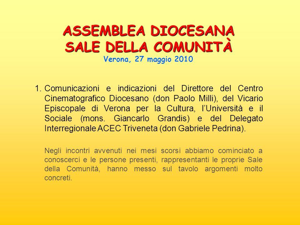 1. Comunicazioni e indicazioni del Direttore del Centro Cinematografico Diocesano (don Paolo Milli), del Vicario Episcopale di Verona per la Cultura,