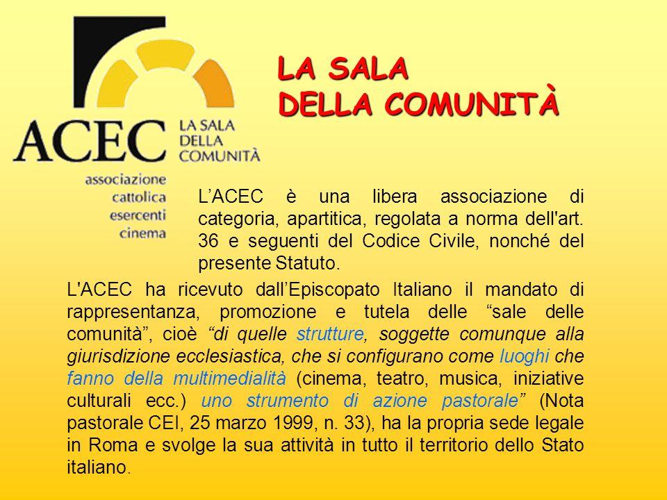 LA SALA DELLA COMUNITÀ LACEC è una libera associazione di categoria, apartitica, regolata a norma dell'art. 36 e seguenti del Codice Civile, nonché de