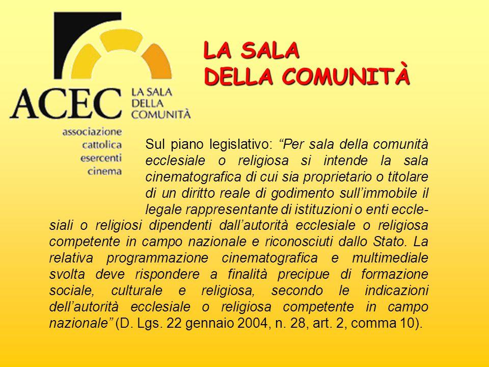 LA SALA DELLA COMUNITÀ Sul piano legislativo: Per sala della comunità ecclesiale o religiosa si intende la sala cinematografica di cui sia proprietari