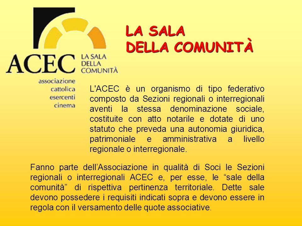 L'ACEC è un organismo di tipo federativo composto da Sezioni regionali o interregionali aventi la stessa denominazione sociale, costituite con atto no