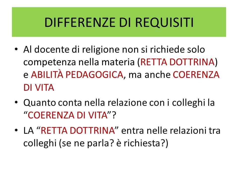 DIFFERENZE DI REQUISITI Al docente di religione non si richiede solo competenza nella materia (RETTA DOTTRINA) e ABILITÀ PEDAGOGICA, ma anche COERENZA