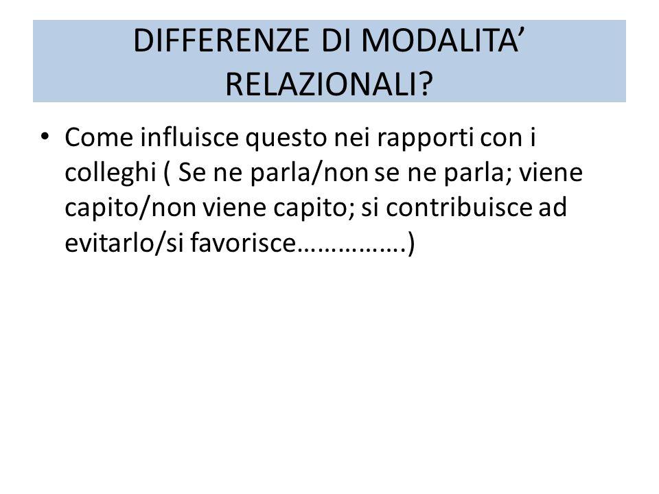 DIFFERENZE DI MODALITA RELAZIONALI? Come influisce questo nei rapporti con i colleghi ( Se ne parla/non se ne parla; viene capito/non viene capito; si