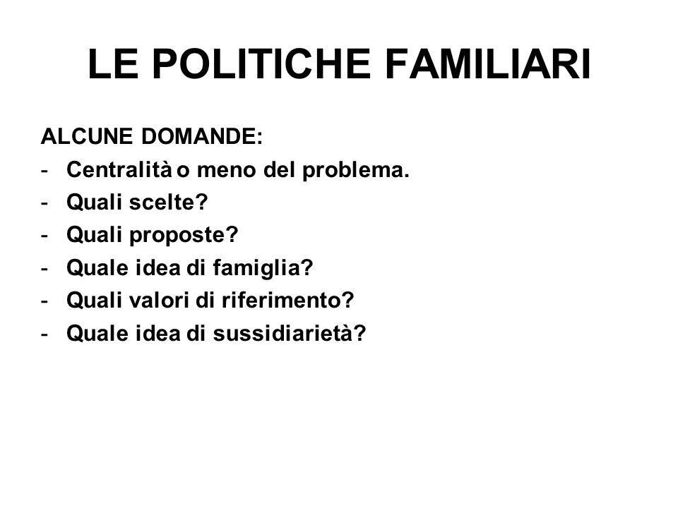 LE POLITICHE FAMILIARI ALCUNE DOMANDE: -Centralità o meno del problema.