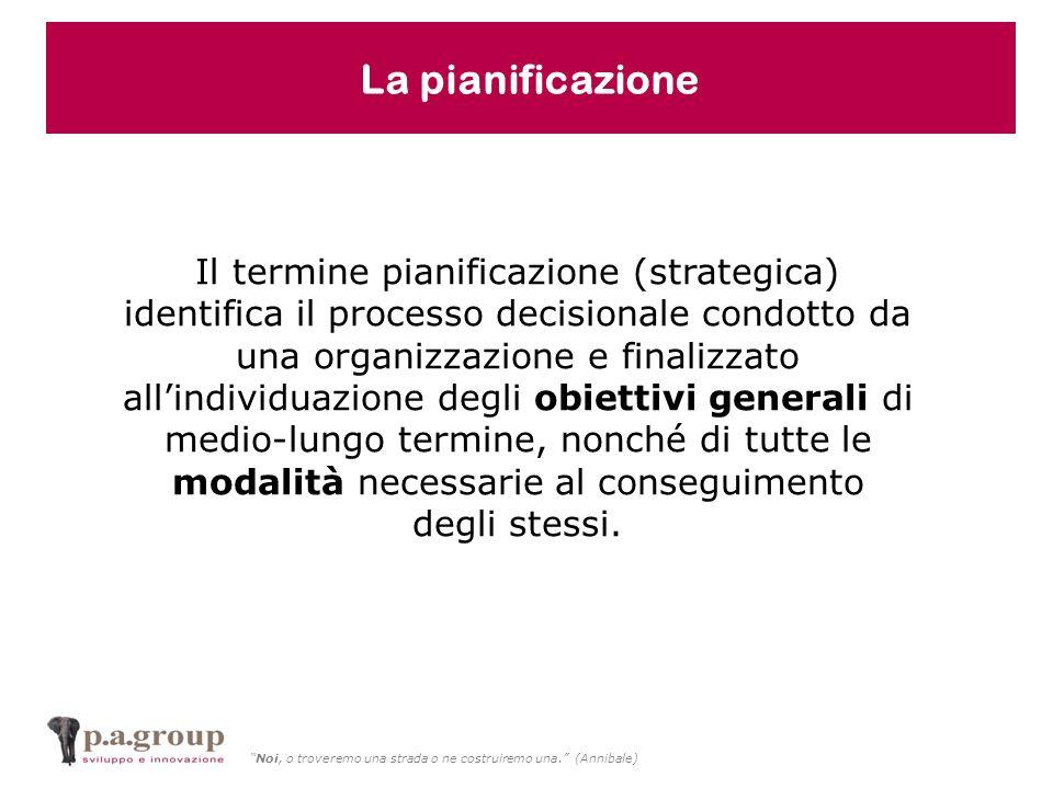 Noi, o troveremo una strada o ne costruiremo una. (Annibale) Il termine pianificazione (strategica) identifica il processo decisionale condotto da una