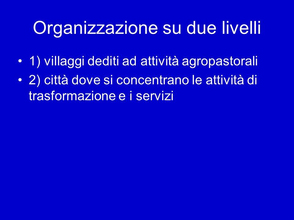 Organizzazione su due livelli 1) villaggi dediti ad attività agropastorali 2) città dove si concentrano le attività di trasformazione e i servizi