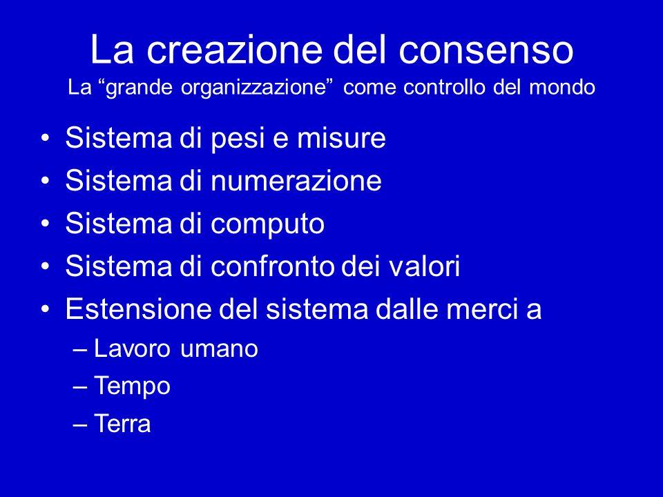 La creazione del consenso La grande organizzazione come controllo del mondo Sistema di pesi e misure Sistema di numerazione Sistema di computo Sistema di confronto dei valori Estensione del sistema dalle merci a –Lavoro umano –Tempo –Terra