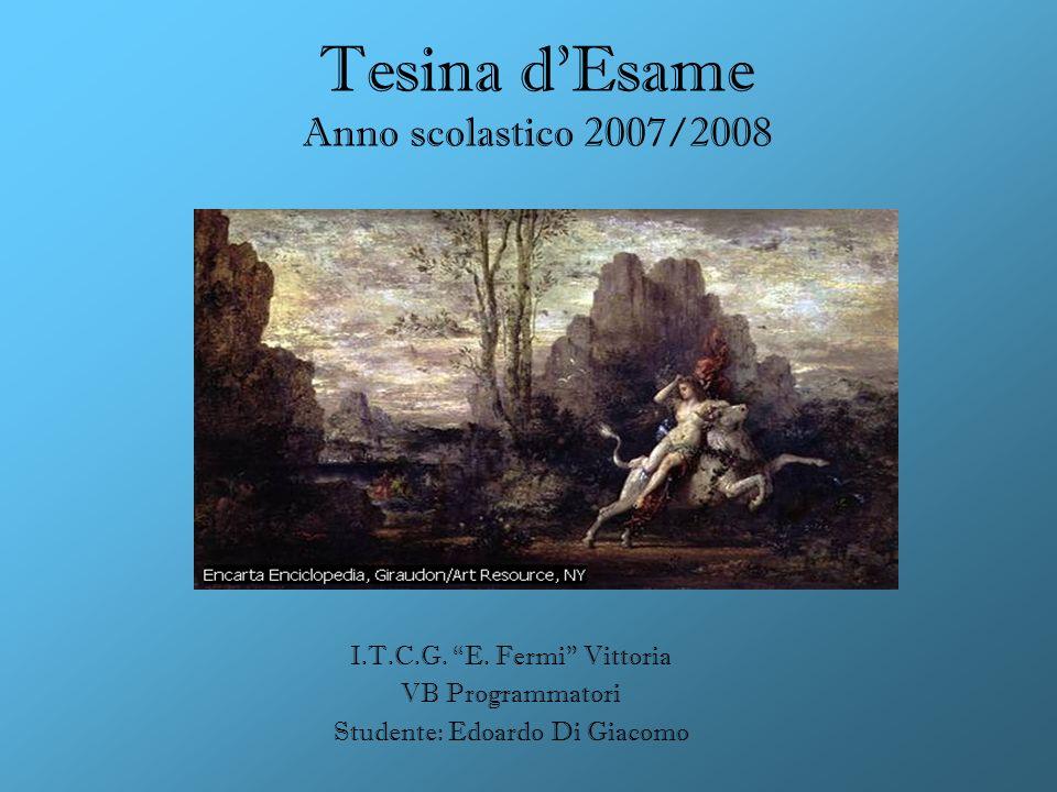 Tesina dEsame Anno scolastico 2007/2008 I.T.C.G. E. Fermi Vittoria VB Programmatori Studente: Edoardo Di Giacomo