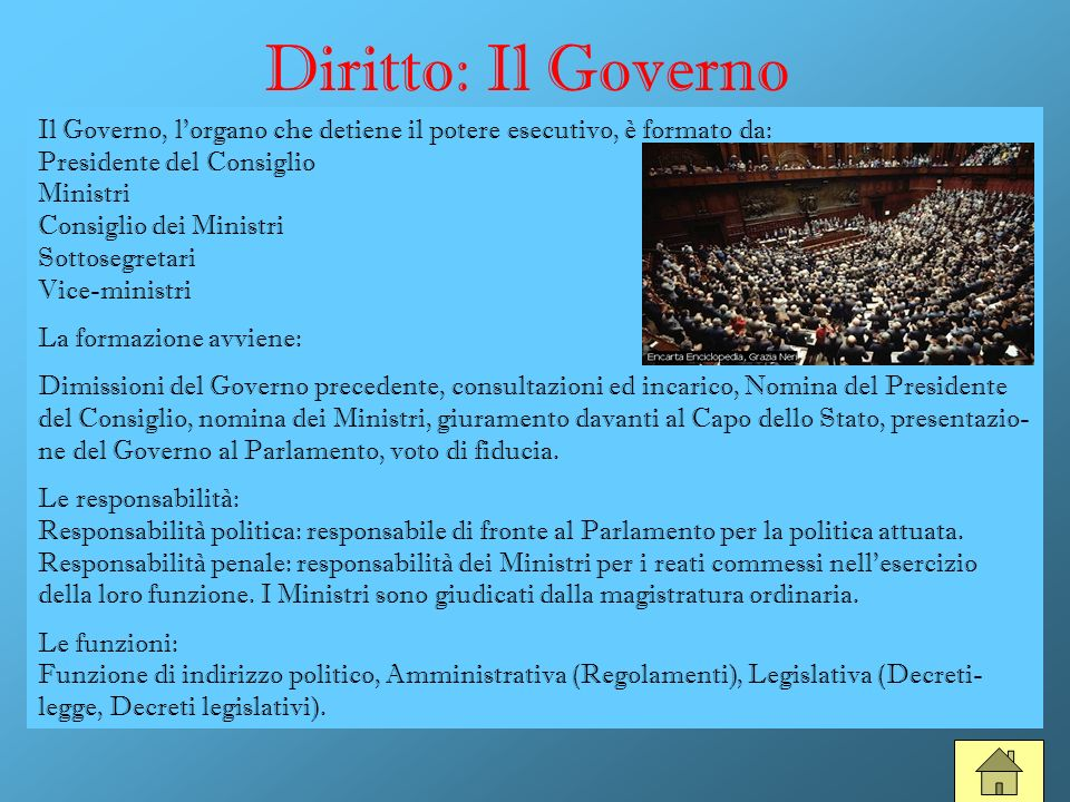 Diritto: Il Governo Il Governo, lorgano che detiene il potere esecutivo, è formato da: Presidente del Consiglio Ministri Consiglio dei Ministri Sottos