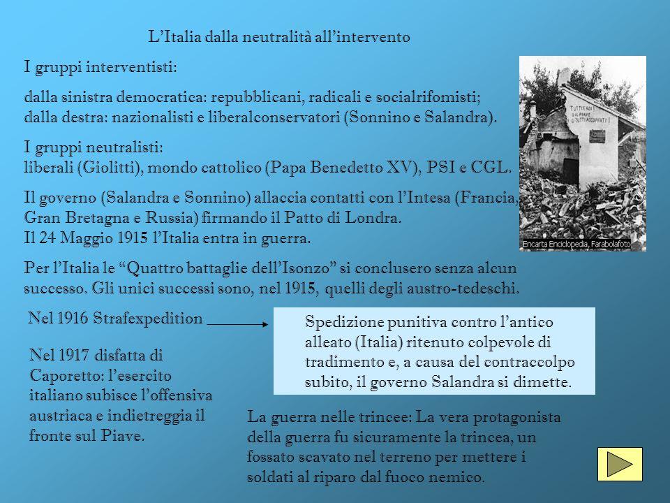 LItalia dalla neutralità allintervento I gruppi interventisti: dalla sinistra democratica: repubblicani, radicali e socialrifomisti; dalla destra: naz