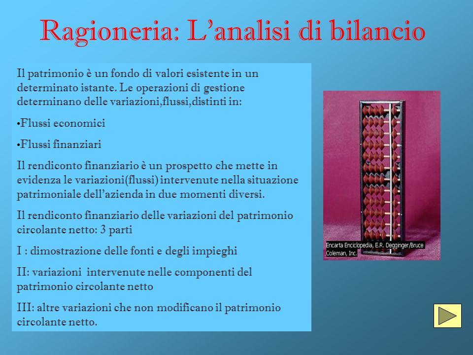 Ragioneria: Lanalisi di bilancio Il patrimonio è un fondo di valori esistente in un determinato istante. Le operazioni di gestione determinano delle v