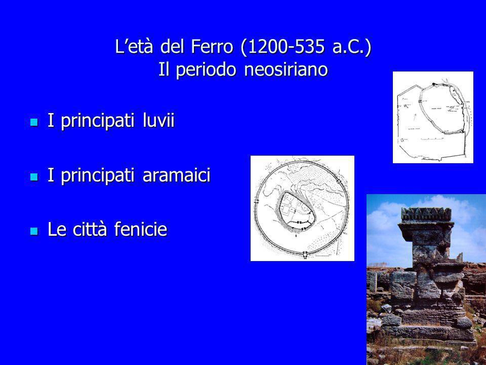 Letà del Ferro (1200-535 a.C.) Il periodo neosiriano I principati luvii I principati luvii I principati aramaici I principati aramaici Le città fenici
