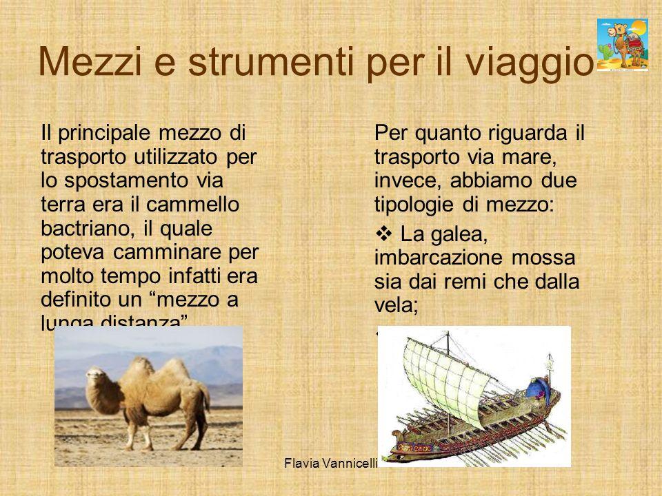 Mezzi e strumenti per il viaggio Il principale mezzo di trasporto utilizzato per lo spostamento via terra era il cammello bactriano, il quale poteva camminare per molto tempo infatti era definito un mezzo a lunga distanza.