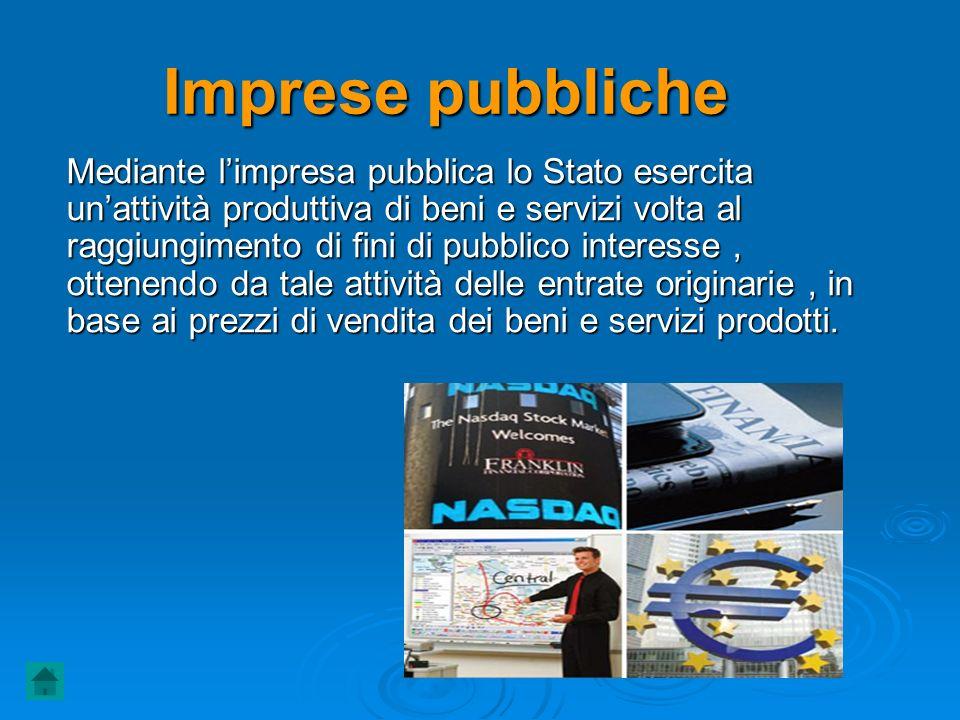 Imprese pubbliche Mediante limpresa pubblica lo Stato esercita unattività produttiva di beni e servizi volta al raggiungimento di fini di pubblico int