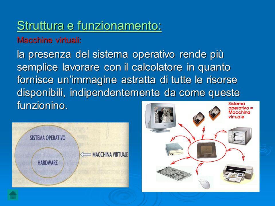 Struttura e funzionamento: Macchine virtuali: la presenza del sistema operativo rende più semplice lavorare con il calcolatore in quanto fornisce unim
