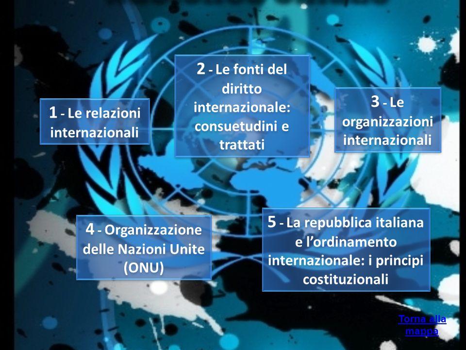 Torna alla mappa 1 - Le relazioni internazionali 2 - Le fonti del diritto internazionale: consuetudini e trattati 3 - Le organizzazioni internazionali