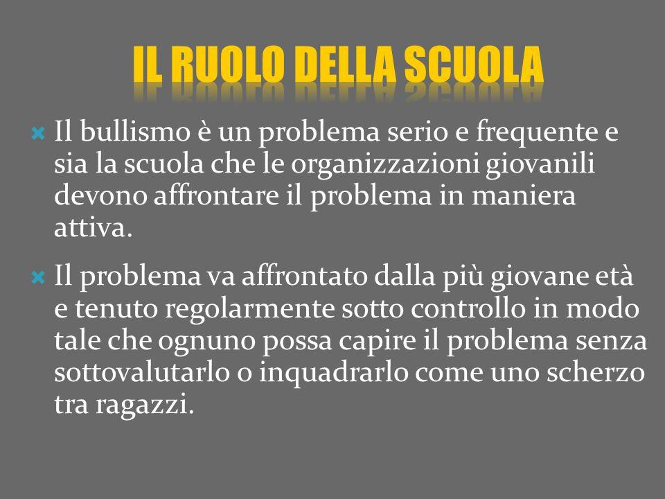 Il bullismo è un problema serio e frequente e sia la scuola che le organizzazioni giovanili devono affrontare il problema in maniera attiva.