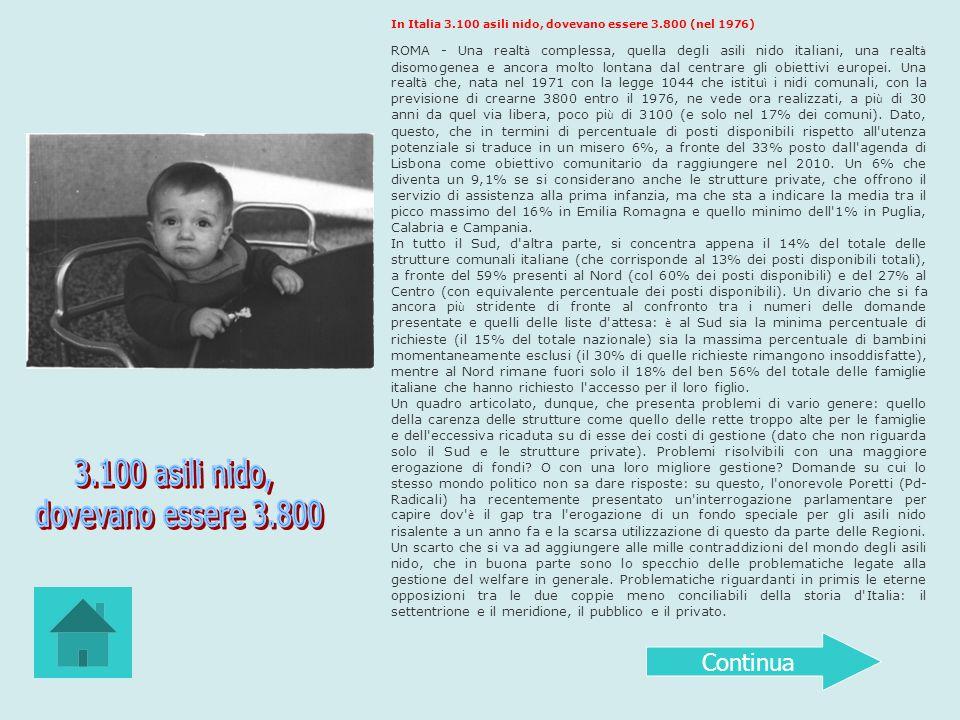 In Italia 3.100 asili nido, dovevano essere 3.800 (nel 1976) ROMA - Una realt à complessa, quella degli asili nido italiani, una realt à disomogenea e