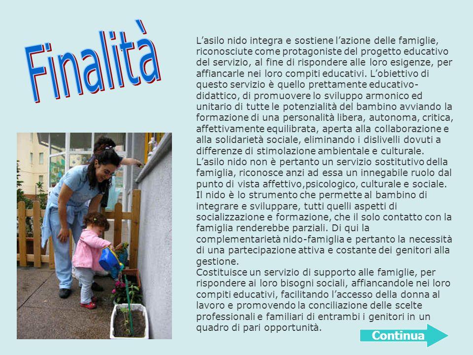 Lasilo nido integra e sostiene lazione delle famiglie, riconosciute come protagoniste del progetto educativo del servizio, al fine di rispondere alle