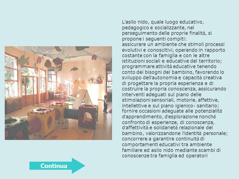 L asilo nido, quale luogo educativo, pedagogico e socializzante, nel perseguimento delle proprie finalit à, si propone i seguenti compiti: assicurare