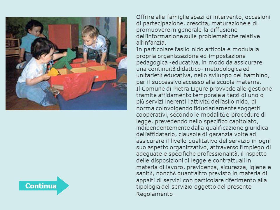 Offrire alle famiglie spazi di intervento, occasioni di partecipazione, crescita, maturazione e di promuovere in generale la diffusione dell informazi