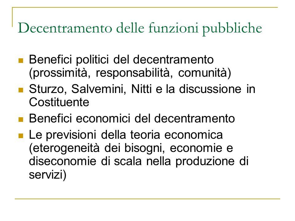 A che punto è il decentramento in Italia.