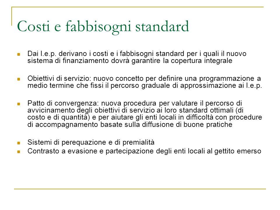 Costi e fabbisogni standard Dai l.e.p.
