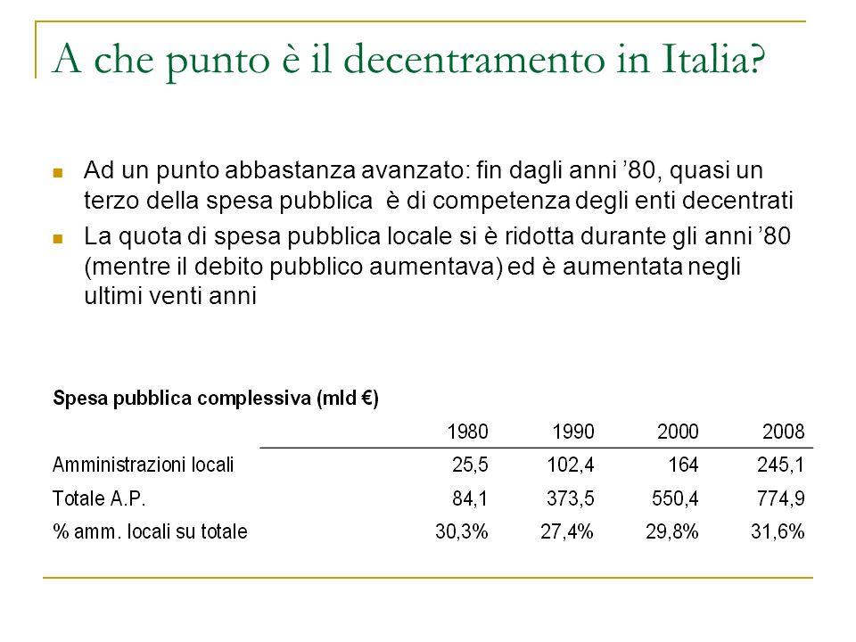 Dovè aumentata la spesa pubblica locale a partire dal 1990.