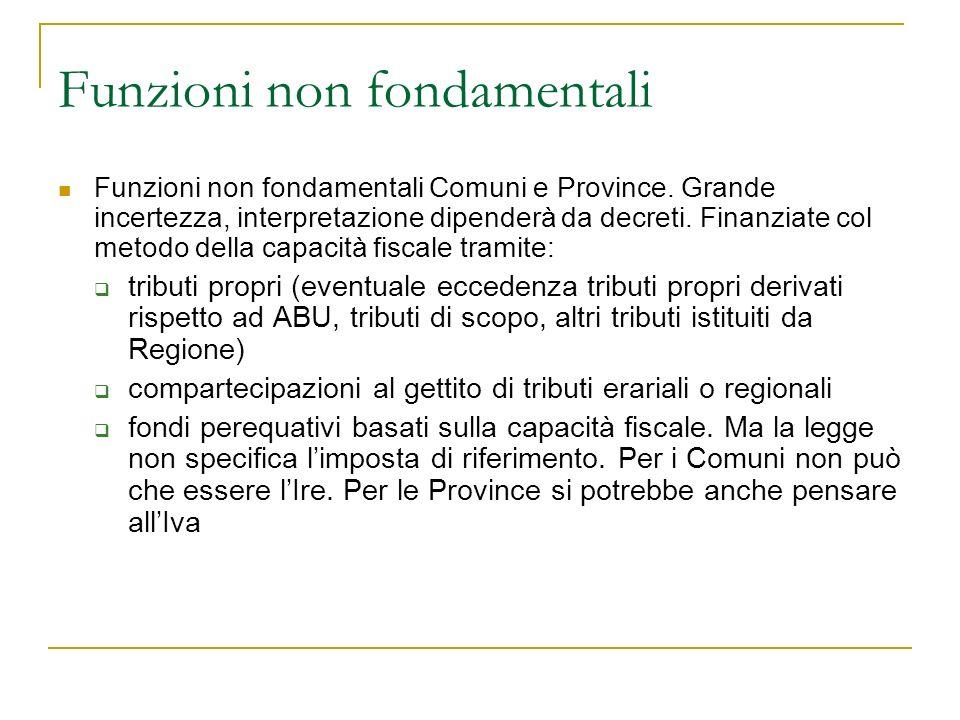 Funzioni non fondamentali Funzioni non fondamentali Comuni e Province.
