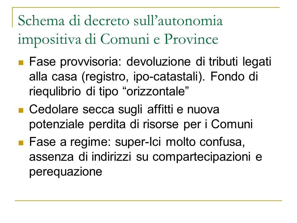Schema di decreto sullautonomia impositiva di Comuni e Province Fase provvisoria: devoluzione di tributi legati alla casa (registro, ipo-catastali).