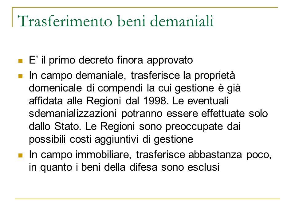 Trasferimento beni demaniali E il primo decreto finora approvato In campo demaniale, trasferisce la proprietà domenicale di compendi la cui gestione è già affidata alle Regioni dal 1998.