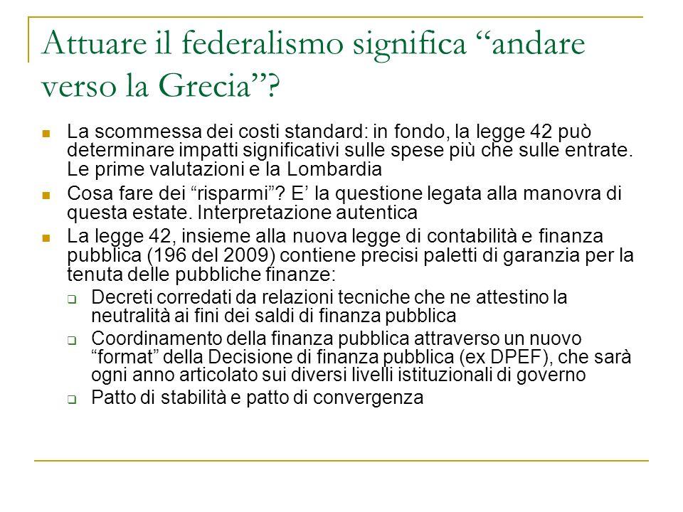 Attuare il federalismo significa andare verso la Grecia.