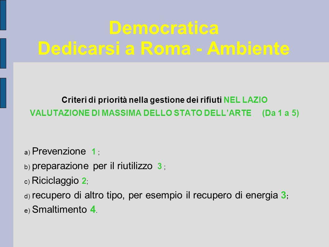 Democratica Dedicarsi a Roma - Ambiente Criteri di priorità nella gestione dei rifiuti NEL LAZIO VALUTAZIONE DI MASSIMA DELLO STATO DELLARTE (Da 1 a 5) a) Prevenzione 1 ; b) preparazione per il riutilizzo 3 ; c) Riciclaggio 2 ; d) recupero di altro tipo, per esempio il recupero di energia 3 ; e) Smaltimento 4.
