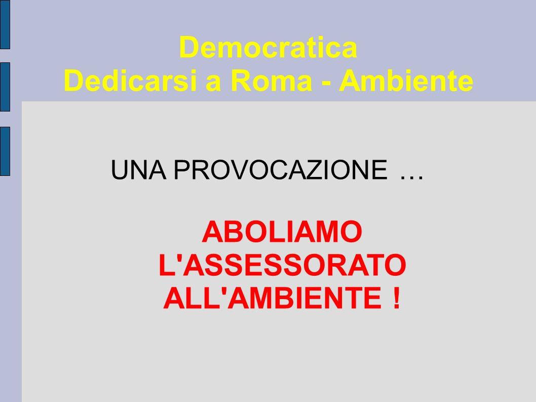 Democratica Dedicarsi a Roma - Ambiente UNA PROVOCAZIONE … ABOLIAMO L ASSESSORATO ALL AMBIENTE !
