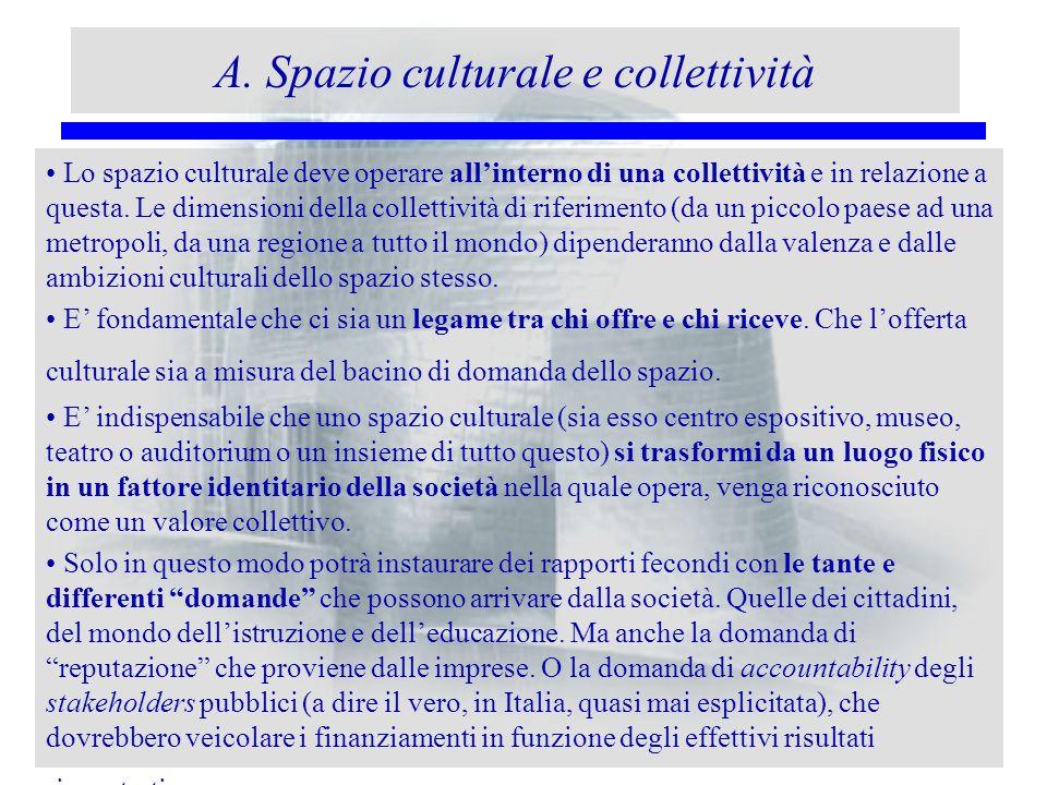 A. Spazio culturale e collettività Lo spazio culturale deve operare allinterno di una collettività e in relazione a questa. Le dimensioni della collet