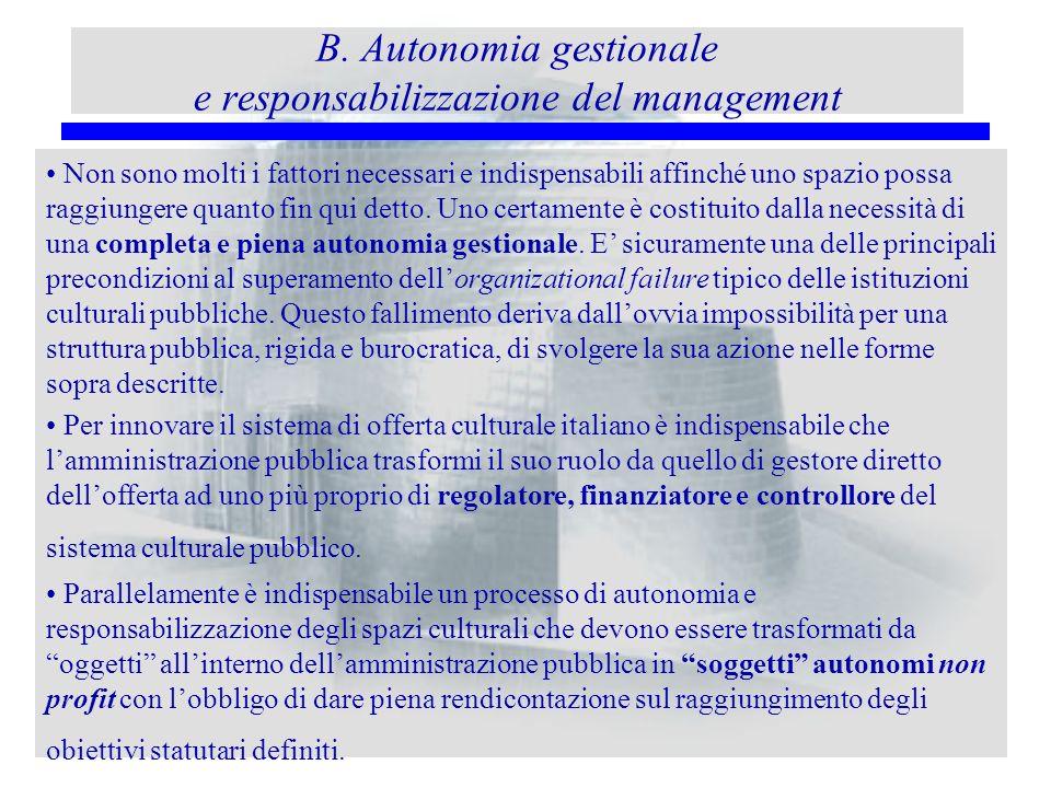 B. Autonomia gestionale e responsabilizzazione del management Non sono molti i fattori necessari e indispensabili affinché uno spazio possa raggiunger