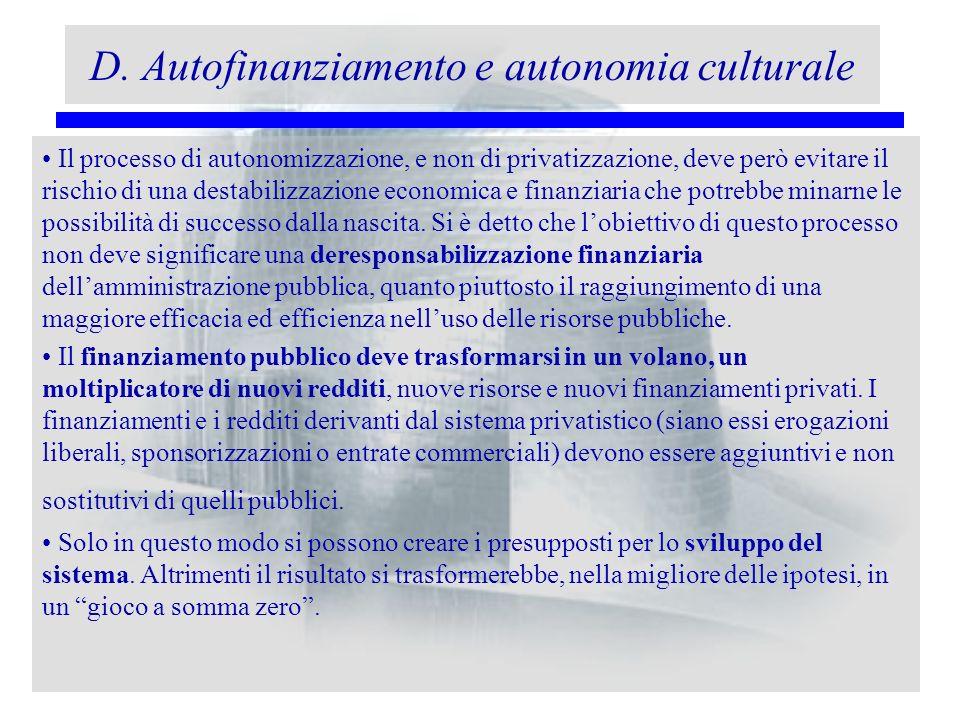 D. Autofinanziamento e autonomia culturale Il processo di autonomizzazione, e non di privatizzazione, deve però evitare il rischio di una destabilizza