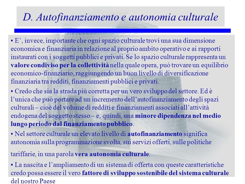 D. Autofinanziamento e autonomia culturale E, invece, importante che ogni spazio culturale trovi una sua dimensione economica e finanziaria in relazio