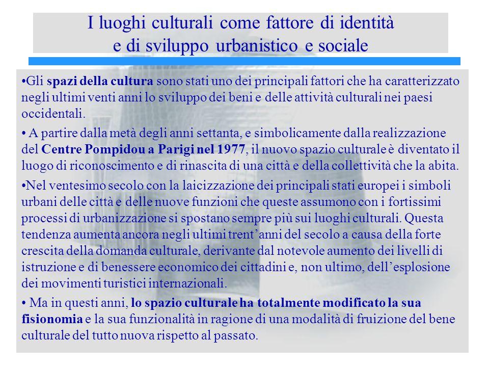 I luoghi culturali come fattore di identità e di sviluppo urbanistico e sociale Gli spazi della cultura sono stati uno dei principali fattori che ha caratterizzato negli ultimi venti anni lo sviluppo dei beni e delle attività culturali nei paesi occidentali.