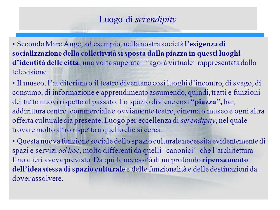 Luogo di serendipity Secondo Marc Augè, ad esempio, nella nostra società lesigenza di socializzazione della collettività si sposta dalla piazza in que