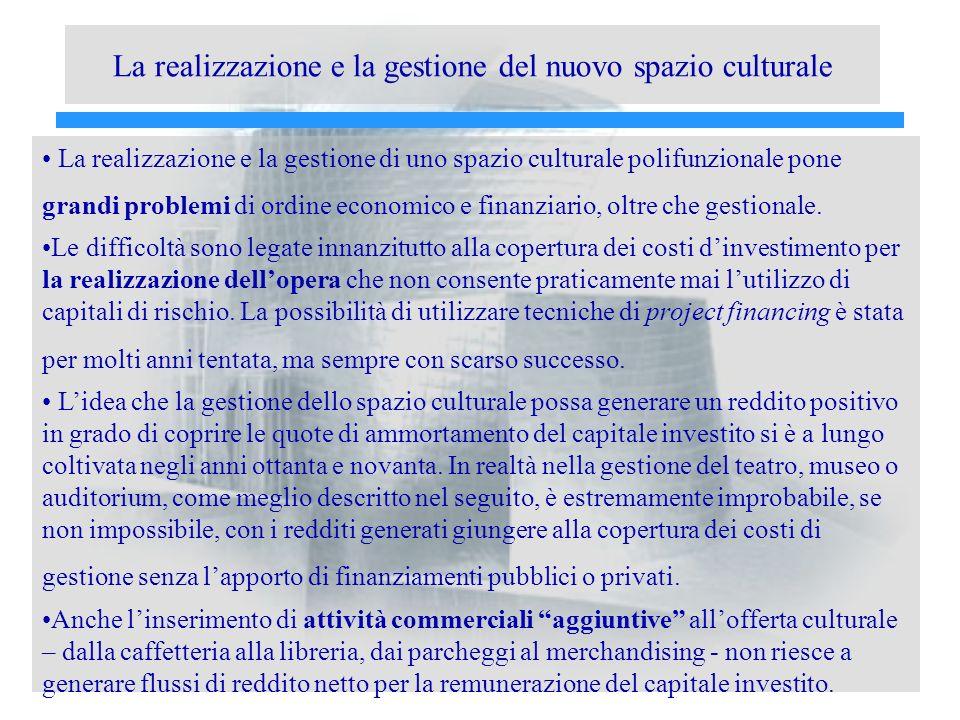 La realizzazione e la gestione del nuovo spazio culturale La realizzazione e la gestione di uno spazio culturale polifunzionale pone grandi problemi di ordine economico e finanziario, oltre che gestionale.