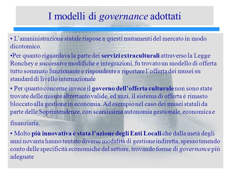 I modelli di governance adottati Lamministrazione statale rispose a questi mutamenti del mercato in modo dicotomico. Per quanto riguardava la parte de