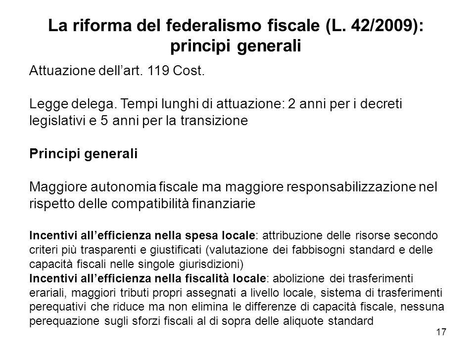 La riforma del federalismo fiscale (L. 42/2009): principi generali Attuazione dellart.