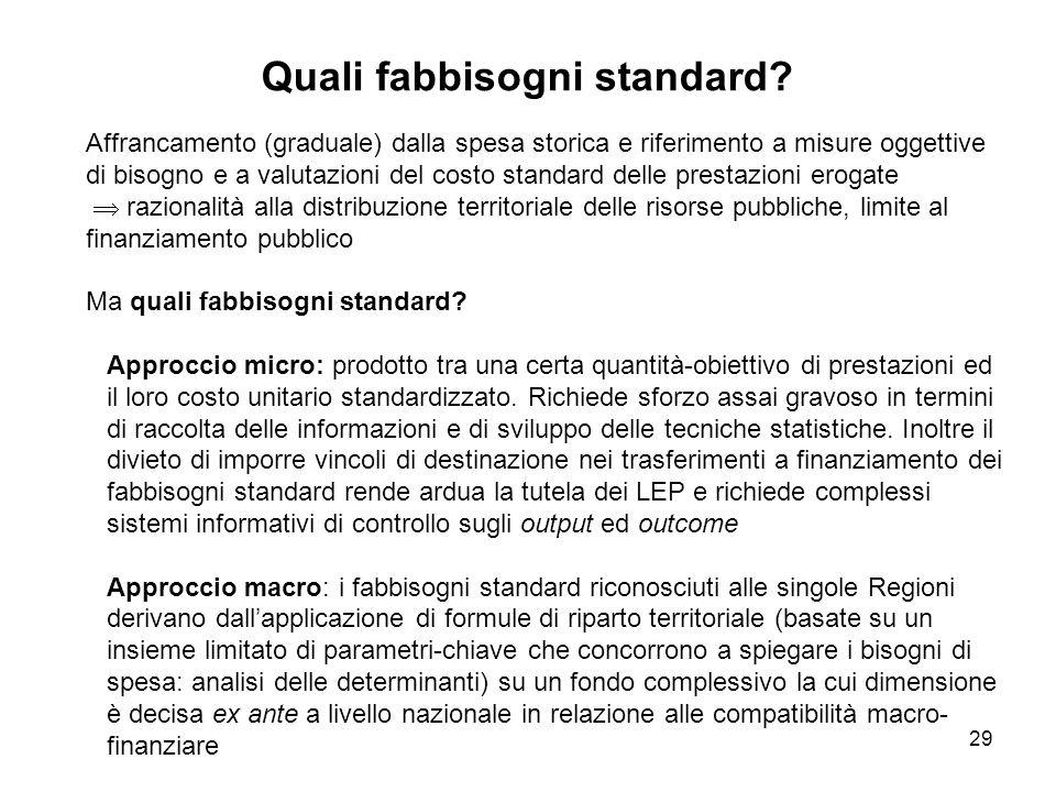 29 Quali fabbisogni standard.