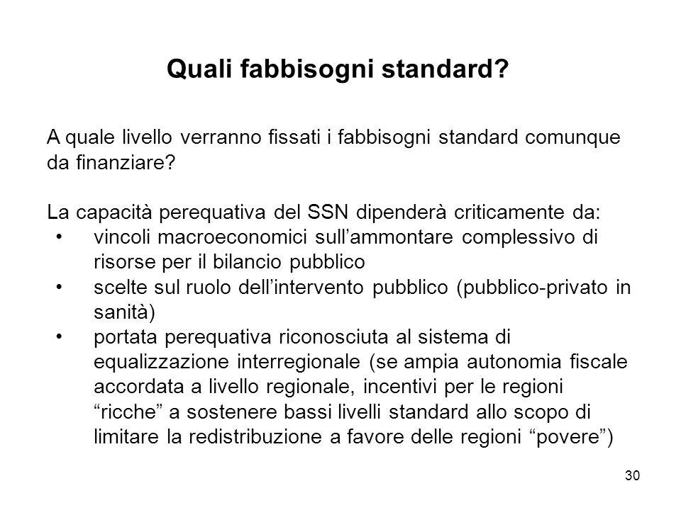 30 Quali fabbisogni standard.